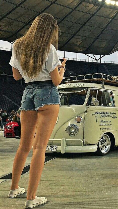 short shorts vw bus girl car girls hot vw