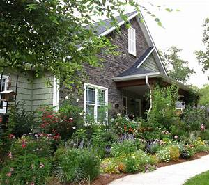 Cottage garden design landscape craftsman with rock wall