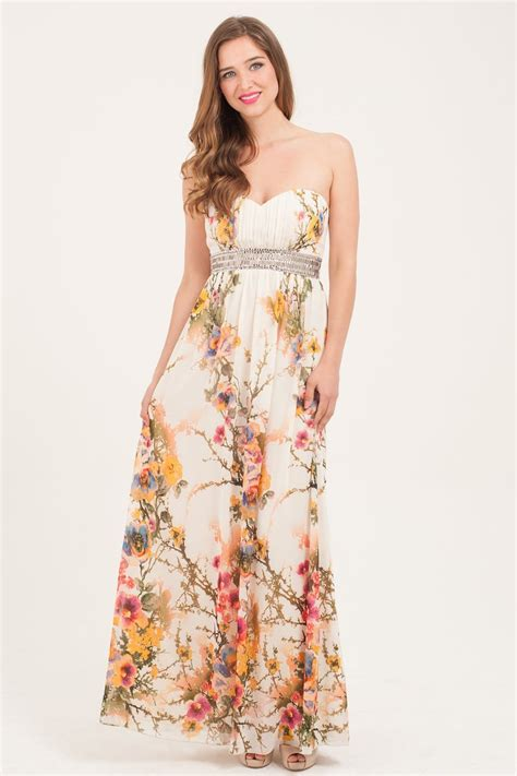 multi colour floral print embellished maxi dress