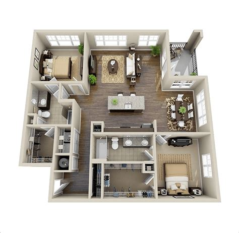 chambre en perspective 10 awesome two bedroom apartment 3d floor plans