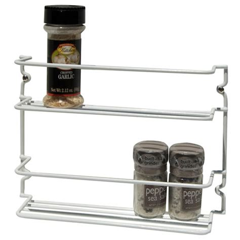 Wire Spice Rack by White Wire Two Tier Mounted Spice Rack In Spice Racks