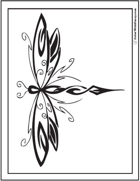 geometric dragonfly coloring pages