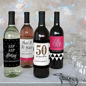 chic 50th birthday pink black and gold wine bottle With 50th birthday wine bottle labels