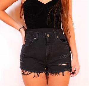 Shorts black denim ripped shorts high waisted shorts jeans pants high waisted - Wheretoget