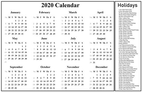 australia calendar printable