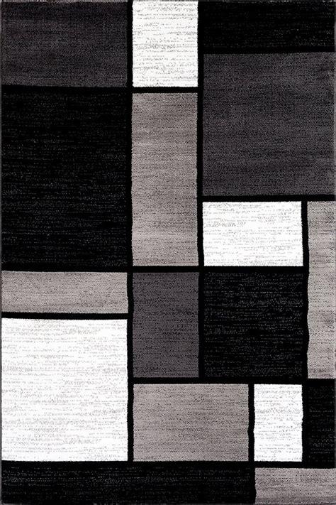 box pattern graygrey black white area rug modern rugs