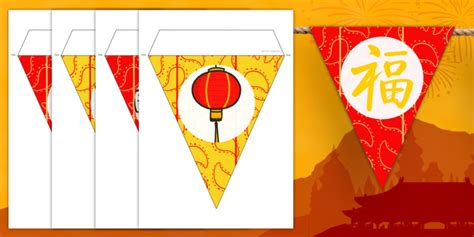 chinese  year bunting bunting decorations classroom