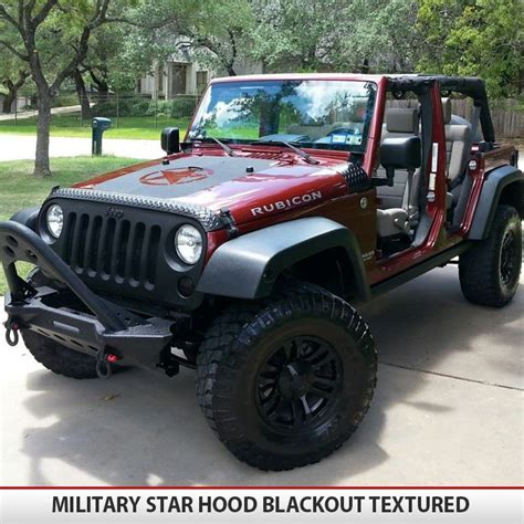 military jeep yj military star jeep hood blackout alphavinyl