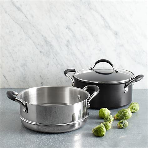 anolon infused copper  quart covered dutch oven  steamer black bloomingdales