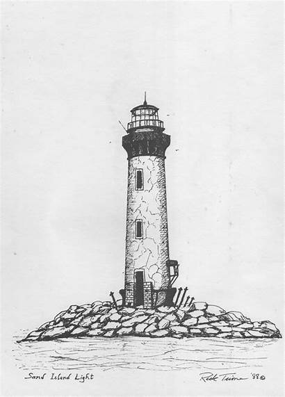Lighthouse Drawing Clipart Drawn Pencil Clip Coloring