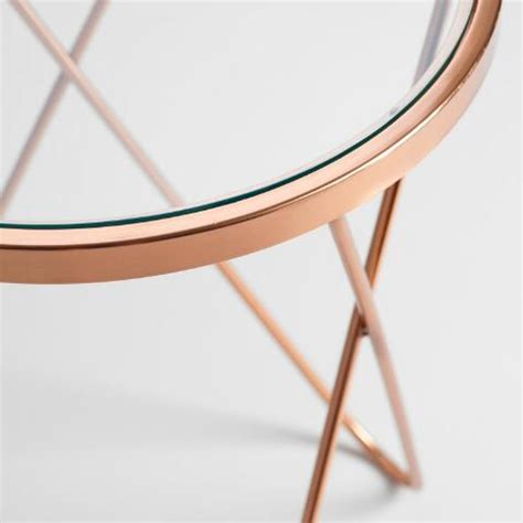rose gold table l rose gold tomlin accent table with glass top world market