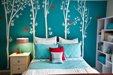 autocollant chambre fille décorer les murs d une peinture turquoise 38 idées d été
