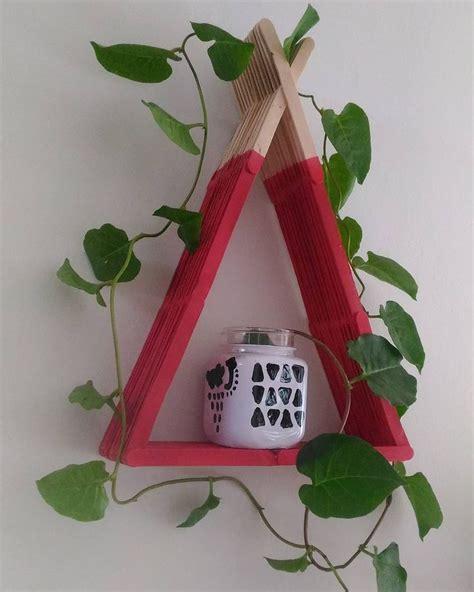 popsicle sticks wall  shelf images  pinterest