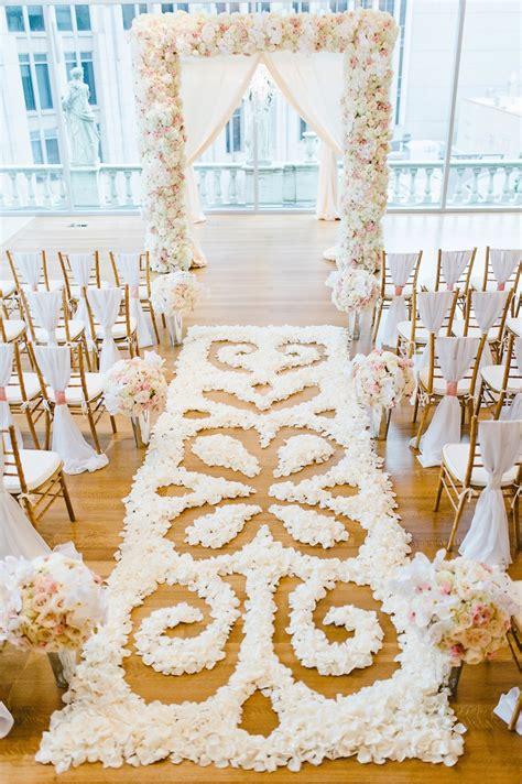 Ceremony Décor Photos Intricate Flower Petal Aisle