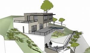 maison moderne sur terrain en pente perfect maison sur With plan de maison sur terrain en pente