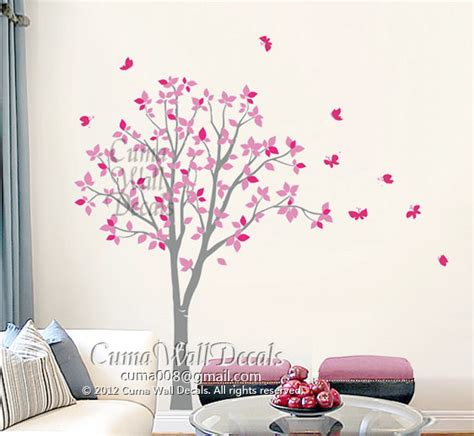 stickers arbre chambre fille vinyl wall decals pink tree owl and butterfly nature tree