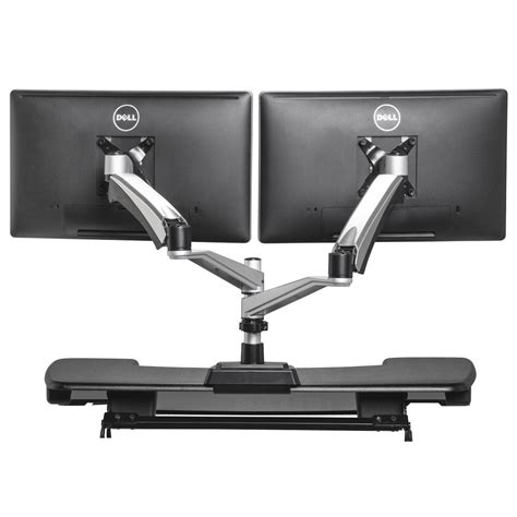 3 monitor standing desk products monitor stands varidesk dual arm monitor stand