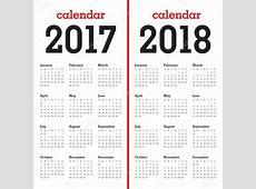 Simple calendario plantilla para 2017 y 2018 — Vector de