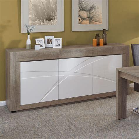 buffet bas de cuisine pas cher meuble buffet 3 portes 3 tiroirs blanc et bois de salle