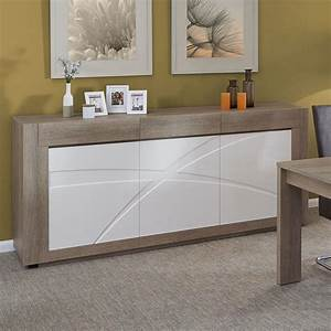 Meuble buffet 3 portes 3 tiroirs blanc et bois de salle for Meuble salle À manger avec chaise bois et blanc