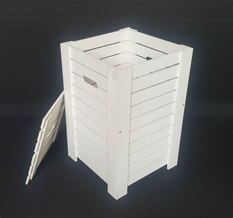wooden white baskets  dirty clothes laundry storage box