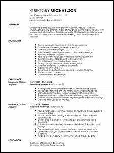 free professional insurance claims adjuster resume With claims adjuster resume template