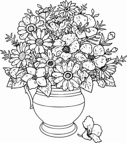 Coloring Vase Flower Sky