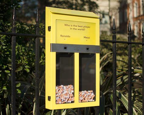 plastic trash cans ballot bin ashtray aims to cuts cigarette litterciwm