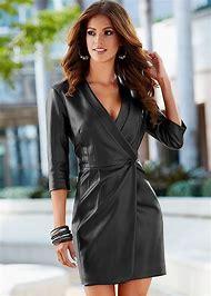 Leather Dress Coat for Women