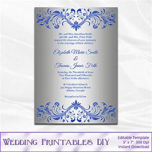 royal blue and silver wedding invitation template diy silver With samples of silver wedding invitations