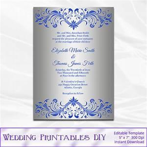 royal blue and silver wedding invitation template diy silver With samples of silver wedding invitations