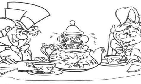 Alice In Wonderland Tea Cup Coloring Pages Hatter And