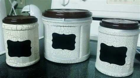 Kid's craft storage from upcycled coffee canisters. Repurposed Folger's plastic coffee cans. Spray painted brown than with crackle paint | Coffee ...