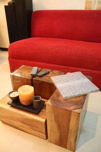 theque  pc wood blocks unique coffee table set