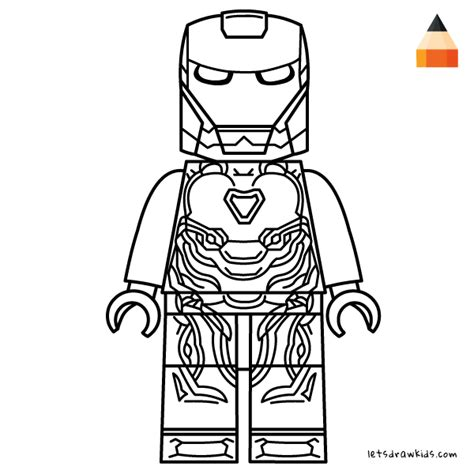 coloring page for kids how to draw lego iron man