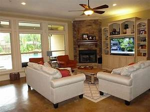 Living Room : Living Room Design With Corner Fireplace And ...