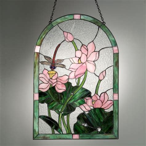 dragonfly stained glass l dragonfly floral stained glass art panel