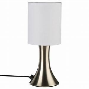"""Lampe Tactile """"Touch"""" Métal 28cm Blanc & Argent"""