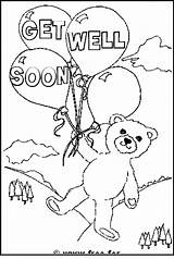 Well Coloring Soon Colouring Cards Bear Printable Teddy Message Messages Adult Sheets Sympathy Looking Card Sheet Thinking Funny Printables Auntie sketch template