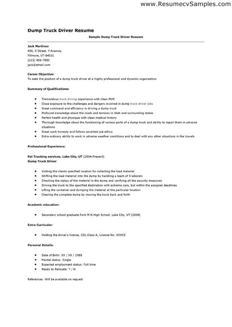 Truck Driving Resume Summary by Dump Truck Driver Resume Emphasizing Career Objective And