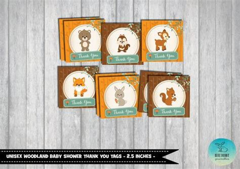 Woodland Baby Shower Favor Tags. Thank You Tags. Woodland