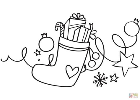 xmas stocking coloring page  printable coloring pages