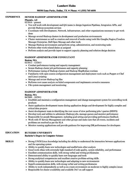 Hadoop Admin Resume hadoop administrator resume sles velvet