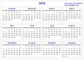 2018 Calendar Small Printable