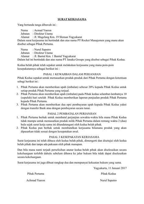 contoh surat perjanjian kerjasama supplier surat