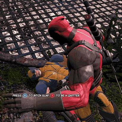 Deadpool Wolverine Bitch Slap Gifs Motion Kiss