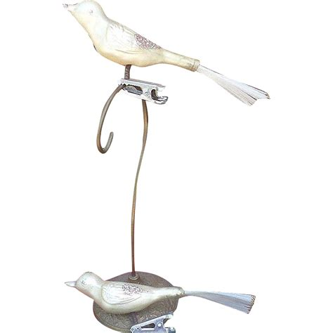 christmas glass bird clip on ornament set from