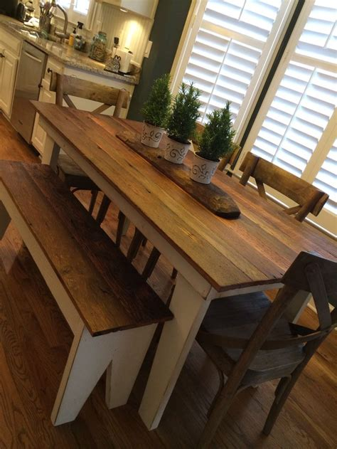 Farmhouse table made with old oak tongue and groove floor