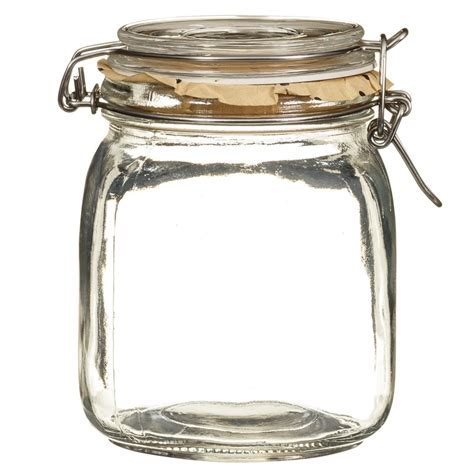 Medium Glass Clip Lock Jar   Kitchen Storage   B&M Stores