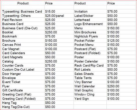 graphic designer price list studio design gallery